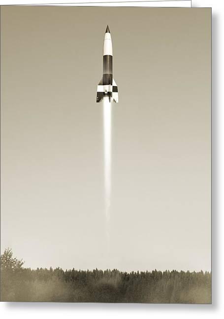 V-2 Rocket Launch, Artwork Greeting Card