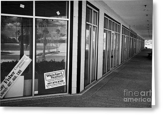 Vacant Empty Strip Mall In Kissimmee Florida Usa Greeting Card