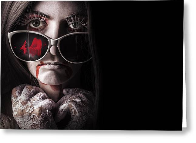 Vampire In The Dark. Horror Fashion Portrait Greeting Card by Jorgo Photography - Wall Art Gallery