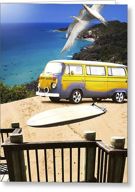 Van And Surf Board At Beach Greeting Card by Jorgo Photography - Wall Art Gallery