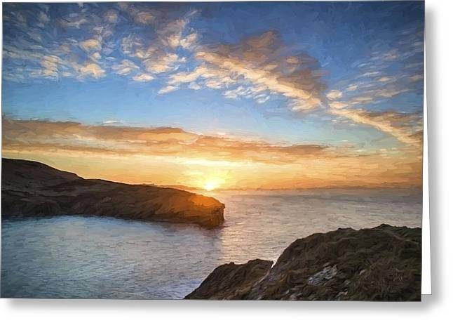Van Gogh Style Digital Painting Beautiful Vibrant Sunrise Over Rocky Coastline Greeting Card