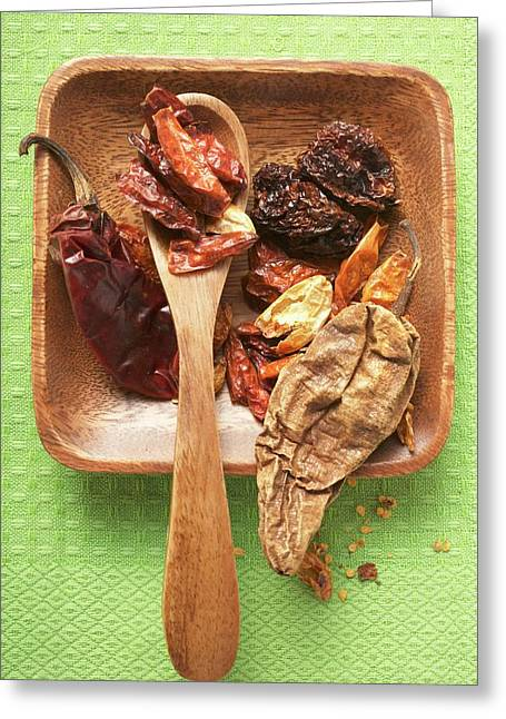 Various Dried Chili Peppers In Wooden Bowl Greeting Card