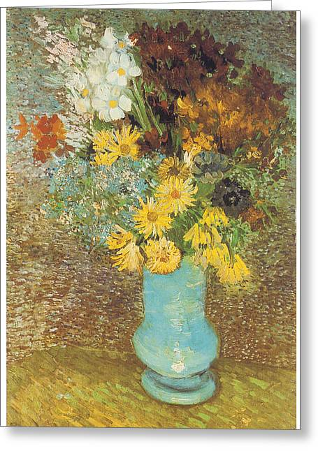 Vase With Daisies And Anemones Greeting Card