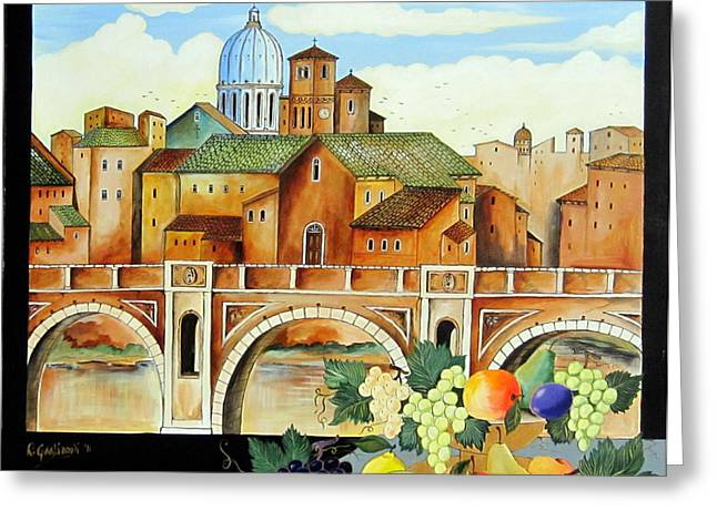Greeting Card featuring the painting Vecchia Roma by Roberto Gagliardi