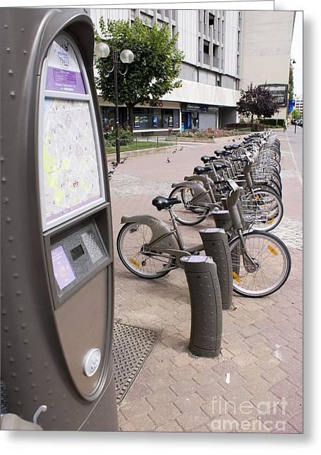 Velib Bike Rental In Paris Greeting Card