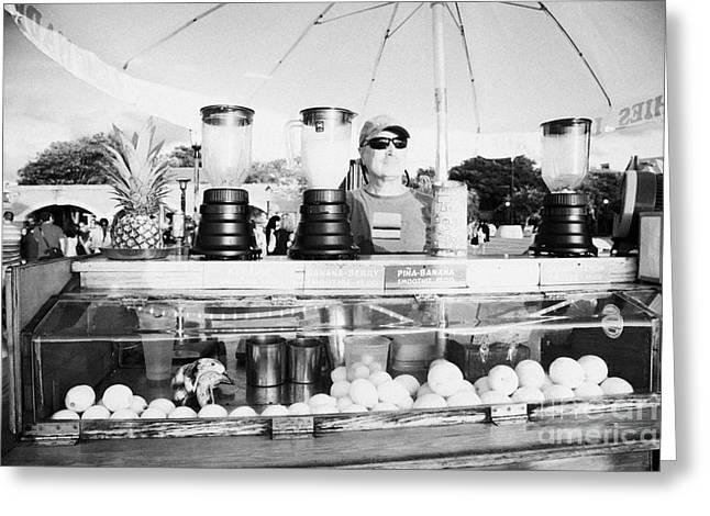 Vendor Selling Fresh Fruit Drinks Slushies At Mallory Square Key West Florida Usa Greeting Card