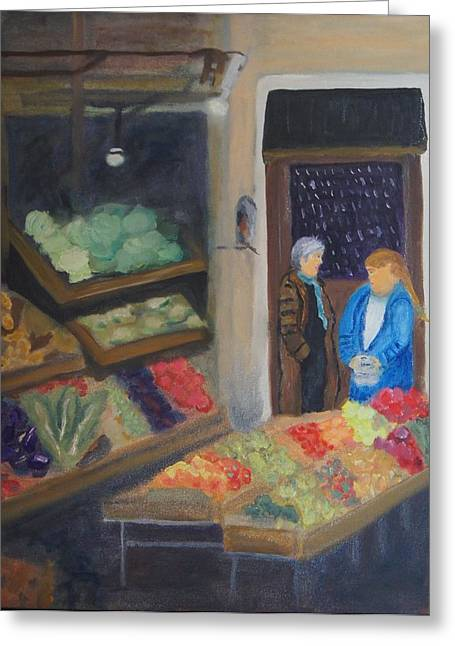 Venice Fruit Market Greeting Card by Kristine Bogdanovich