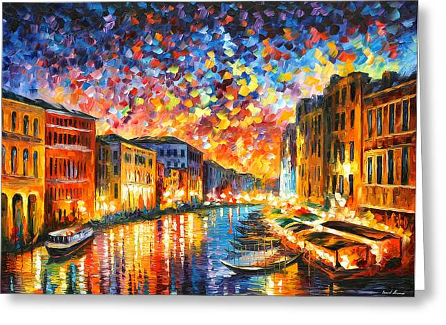 Venice Grand Canal Greeting Card by Leonid Afremov