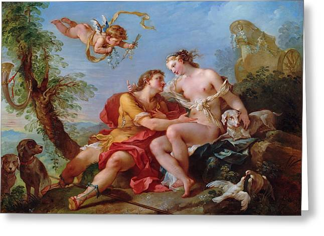 Venus And Adonis Greeting Card by Charles-Joseph Natoire