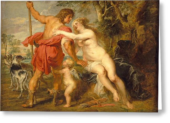 Venus And Adonis Greeting Card by Peter Paul Rubens