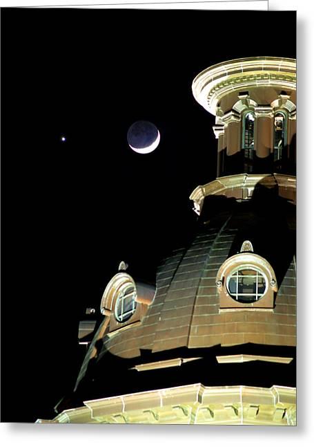 Venus And Crescent Moon-1 Greeting Card