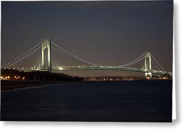 1 Verrazano Narrows Bridge At Twilight Greeting Card