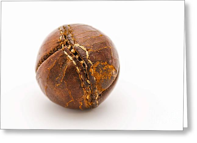 Very Old Leather Baseball Greeting Card by Patricia Hofmeester