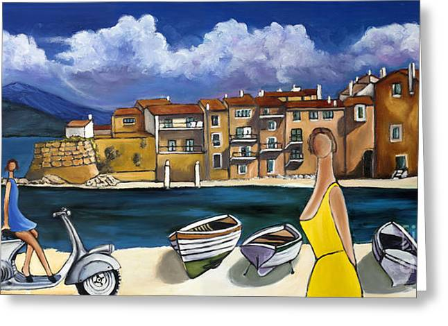 Vespa And French Cove Greeting Card by William Cain
