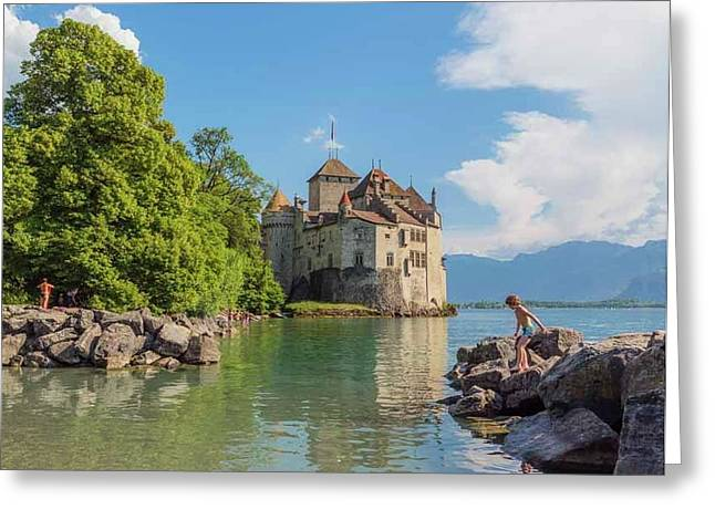Veytaux, Switzerland. Chateau De Greeting Card by Ken Welsh