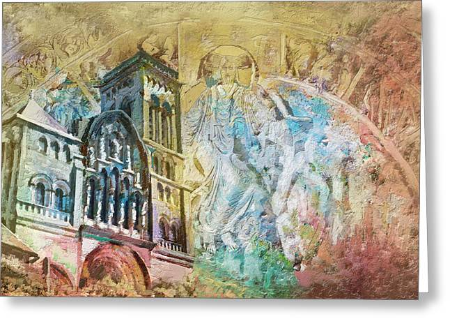 Vezelay Church And Hill Greeting Card