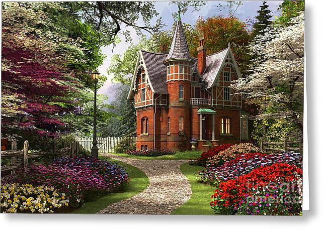 Victorian Cottage In Bloom Greeting Card