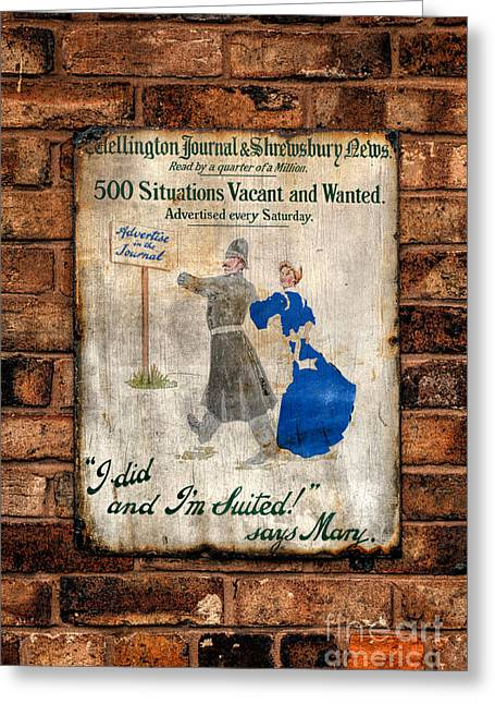 Victorian Sign Greeting Card by Adrian Evans