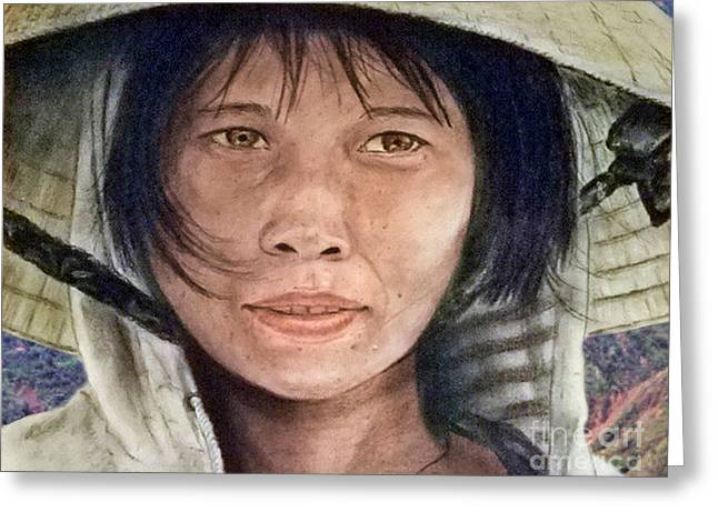 Vietnamese Woman Wearing A Conical Hat Greeting Card by Jim Fitzpatrick