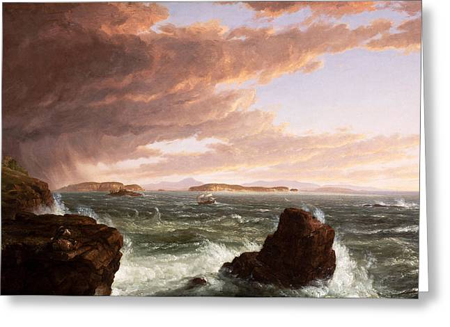 View Across Frenchmans Bay From Mt  Desert Island  After A Squall Greeting Card by Thomas Cole