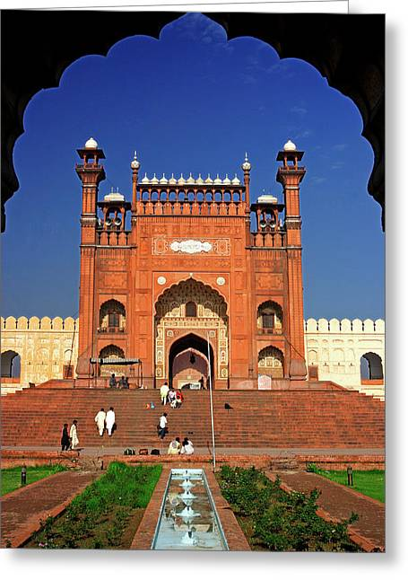 View From The Arch Of Badshahi Masjid Greeting Card