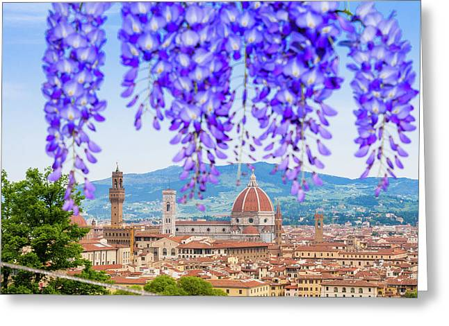 View Of City Center Of Florence Greeting Card by Nico Tondini
