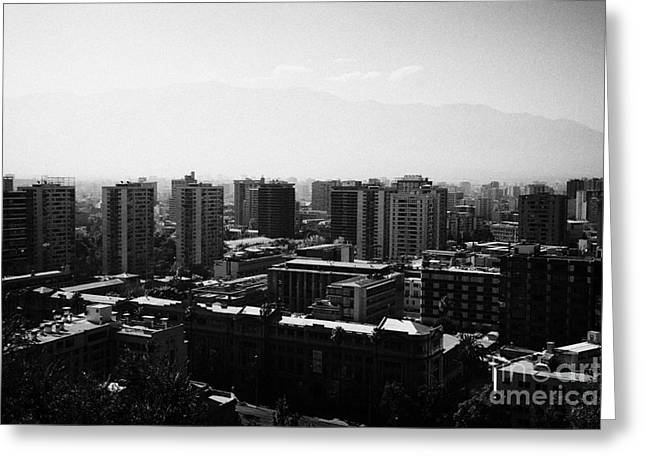 view of downtown santiago smog and distant mountain range from cerro santa lucia hill Santiago Chile Greeting Card