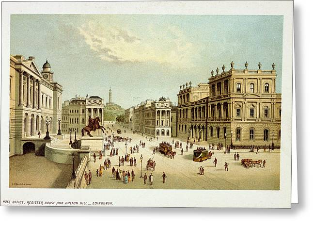 View Of Edinburgh Greeting Card by British Library
