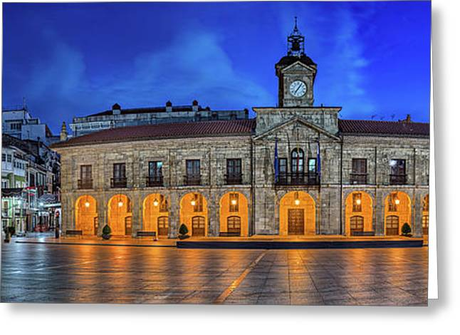 View Of Plaza De Espana Of Aviles Greeting Card by Panoramic Images