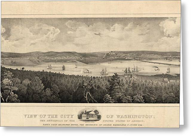 View Of The City Of Washington, The Metropolis Greeting Card