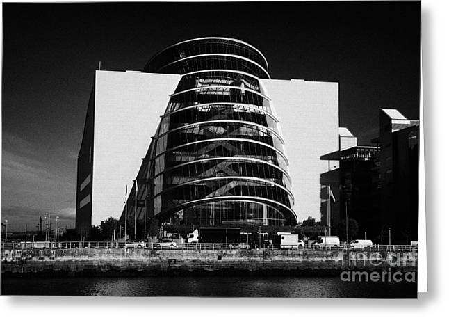 View Of The River Liffey And The Convention Centre Dublin Republic Of Ireland Greeting Card by Joe Fox