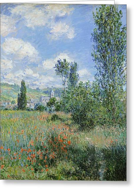 View Of Vetheuil Greeting Card by Claude Monet