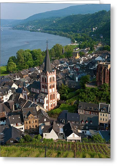 View Over Bacharach And River Rhine Greeting Card by Peter Adams