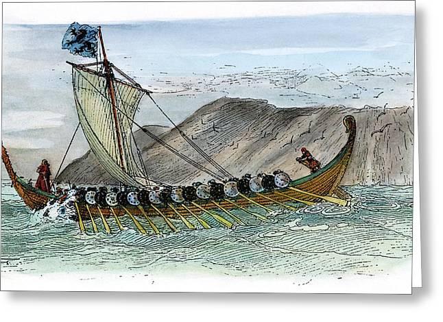 Viking Ship, C1000 Greeting Card