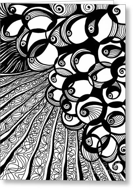 Vineyard Black And White Greeting Card