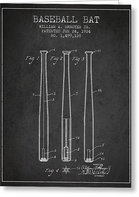 Vintage Baseball Bat Patent From 1924 Greeting Card