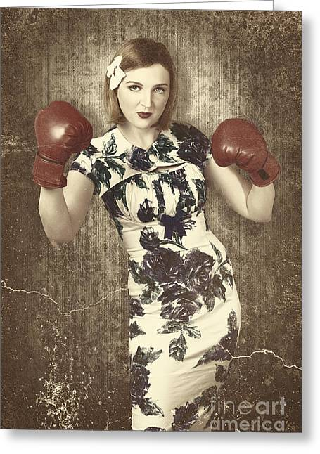 Vintage Boxing Pinup Poster Girl. Retro Fight Club Greeting Card
