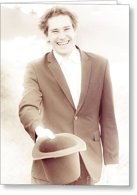 Vintage Business Man Greeting With Hat Off Greeting Card by Jorgo Photography - Wall Art Gallery