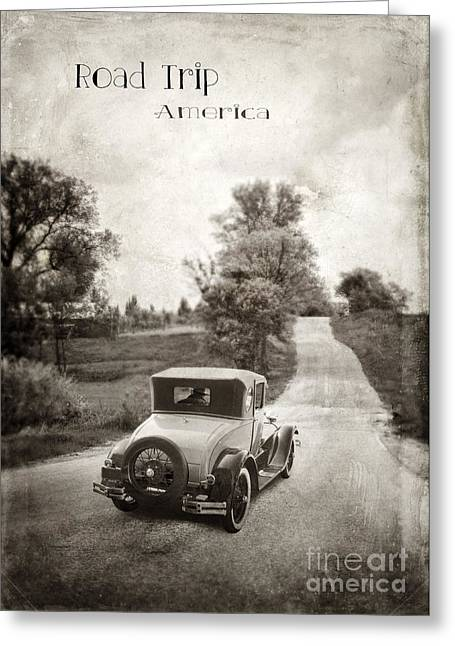 Vintage Car On A Rural Road Greeting Card