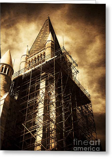 Vintage Church Column Construction Greeting Card by Jorgo Photography - Wall Art Gallery