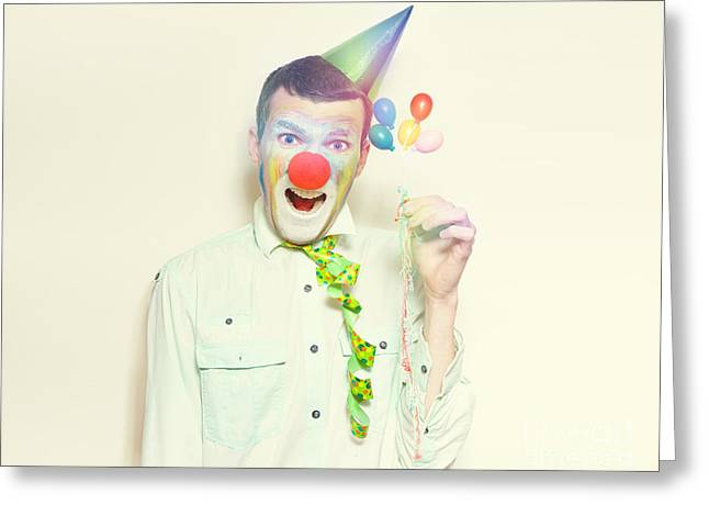 Vintage Clown With Birthday Balloons And Streamers Greeting Card by Jorgo Photography - Wall Art Gallery