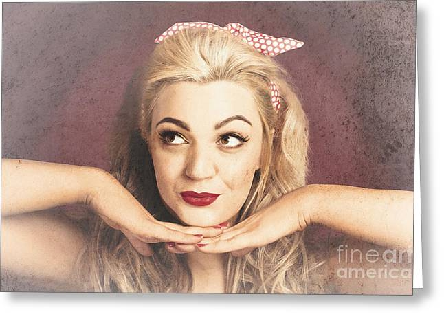 Vintage Face Of Nostalgia. Retro Blond 1940s Girl  Greeting Card by Jorgo Photography - Wall Art Gallery
