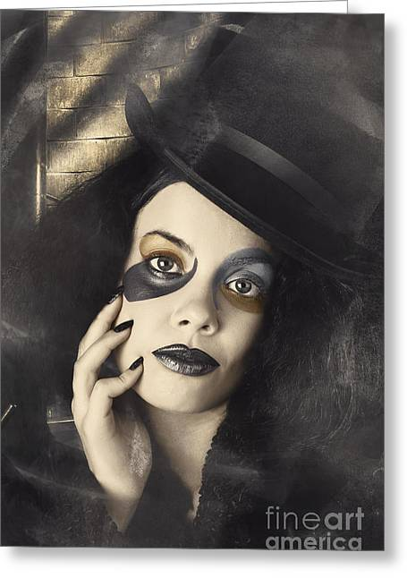 Vintage Fashion Girl In Creative Makeup And Tophat Greeting Card by Jorgo Photography - Wall Art Gallery