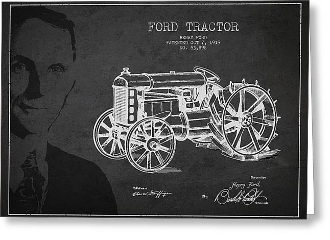 Vintage Ford Tractor Patent Drawing From 1919 Greeting Card by Aged Pixel