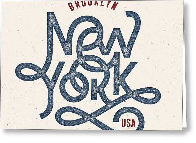Vintage Hand Lettered Textured New York Greeting Card by Tortuga