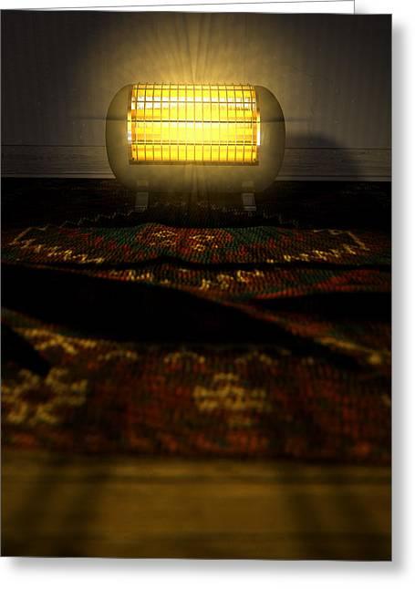 Vintage Heater On Persian Carpet Greeting Card by Allan Swart