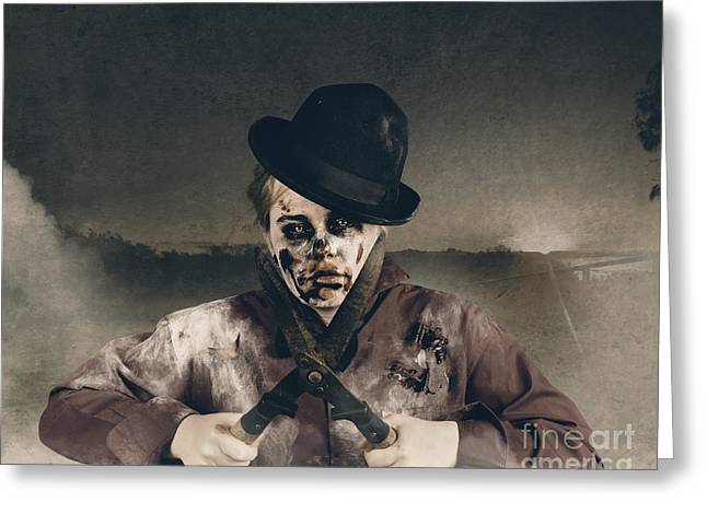 Vintage Horror. Dawn Of The Dead Hedge Greeting Card by Jorgo Photography - Wall Art Gallery