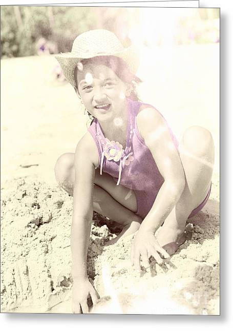 Vintage Image Of Child Building Sandcastle Greeting Card by Jorgo Photography - Wall Art Gallery