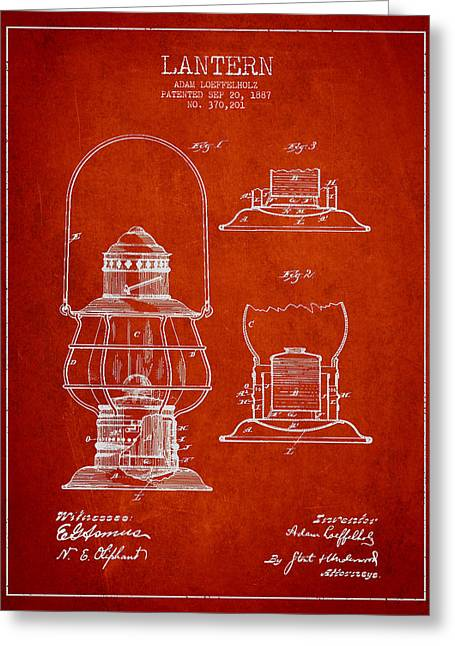 Vintage Lantern Patent Drawing From 1887 Greeting Card