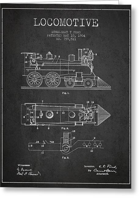 Vintage Locomotive Patent From 1904 Greeting Card